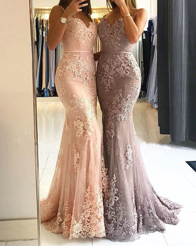 Image of Elegant Lace Mermaid Evening Gowns