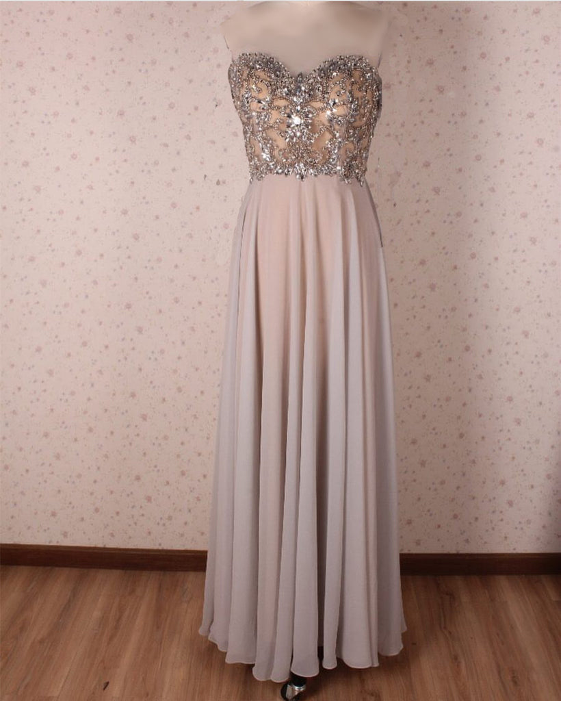 Crystal Beaded Scoop Neck Long Chiffon Floor Length Evening Gowns
