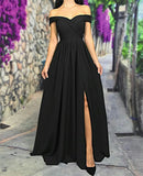 Sexy Off The Shoulder Long Satin Bridesmaid Dresses With Leg Slit