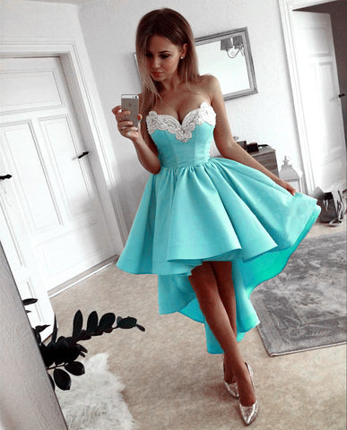 Image of Gorgeous Lace Embroidery Sweetheart A Line High Low Prom Dresses