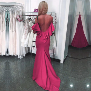 Ruffle Back Long Satin Mermaid Prom Dresses 2018 Formal  Evening Gowns