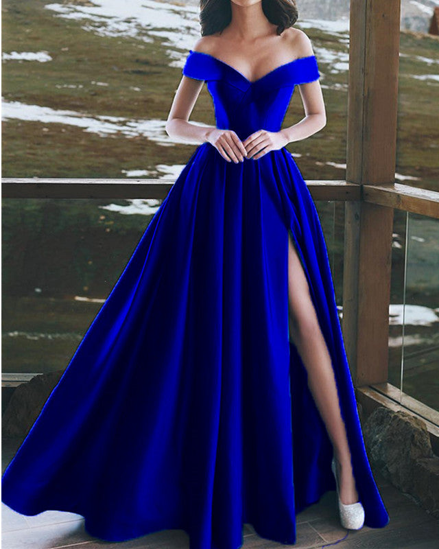 4ca20dbe63a Elegant V-neck Off The Shoulder Long Satin Prom Dresses – alinanova