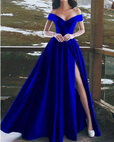 Image of Royal-Blue-Formal-Gowns-Long-Split-Prom-Dresses-Elegant-Formal-Gala-Events