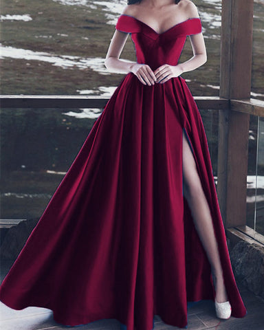 Burgundy-Evening-Dresses-Long-Formal-Prom-Gowns-Off-The-Shoulder