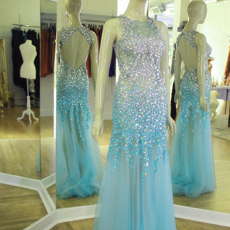 See Through Prom Dresses Mermaid Backless Evening Gowns With Crystal