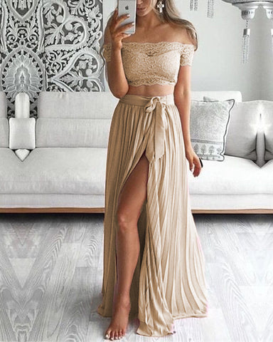 Image of Boho Lace Crop Chiffon Bridesmaid Dresses Two Piece