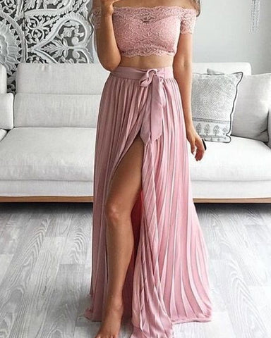 Boho Lace Crop Chiffon Bridesmaid Dresses Two Piece