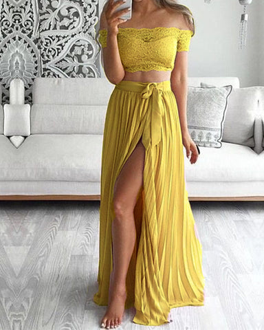 Image of Mustard Yellow Chiffon Bridesmaid Dresses Lace Crop
