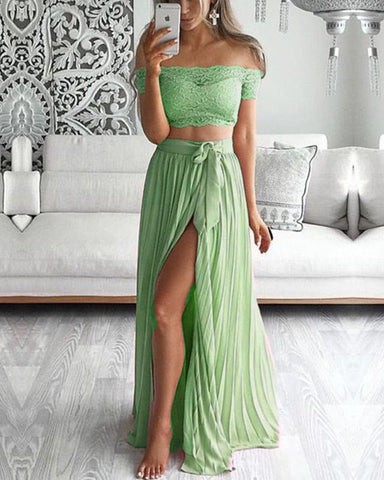 Image of Sage Green Bridesmaid Dresses Two Piece