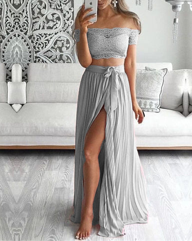 Silver Bridesmaid Dresses Lace Crop