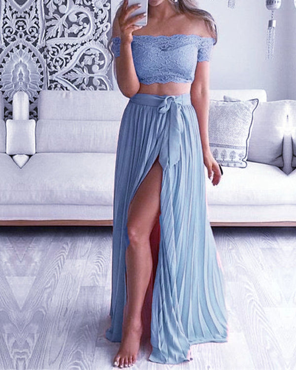 Steel Blue Lace Crop Bridesmaid Dresses Two Piece