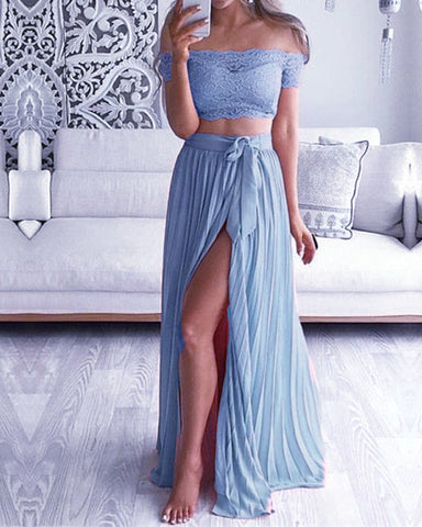 Image of Steel Blue Lace Crop Bridesmaid Dresses Two Piece