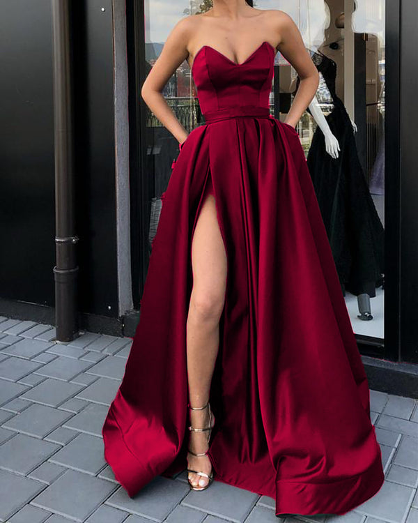Burgundy Prom Long Dresses With Split