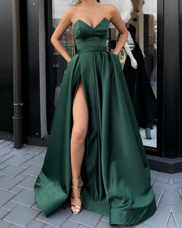 V-neck Prom Dresses Leg Split