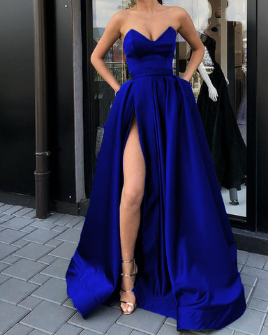 Image of Long Royal Blue Prom Dresses 2019
