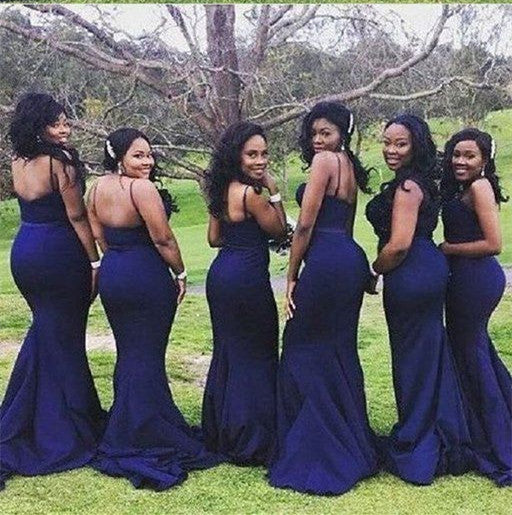 a0bb2bd47fa Navy Blue Satin Curved Sweetheart Mermaid Bridesmaid Dresses ...