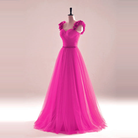 Image of elegant rose flower straps long tulle formal evening dress sexy pleated sweetheart