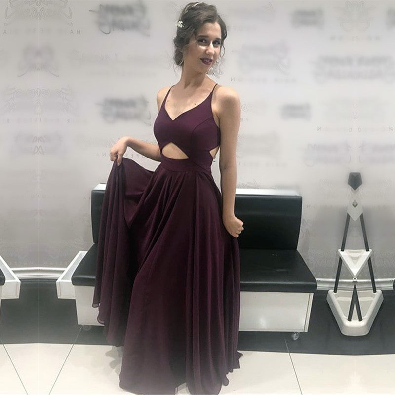 9c0baf0bc79 Double tap to zoom · Chic V Neck Cross Back Long Chiffon Prom Dresses 2018  Formal Evening Gowns