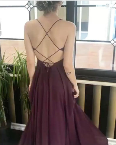 Image of Chic V Neck Cross Back Long Chiffon Prom Dresses