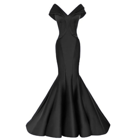 Image of off the shoulder v neck long taffeta mermaid evening dresses long prom gowns