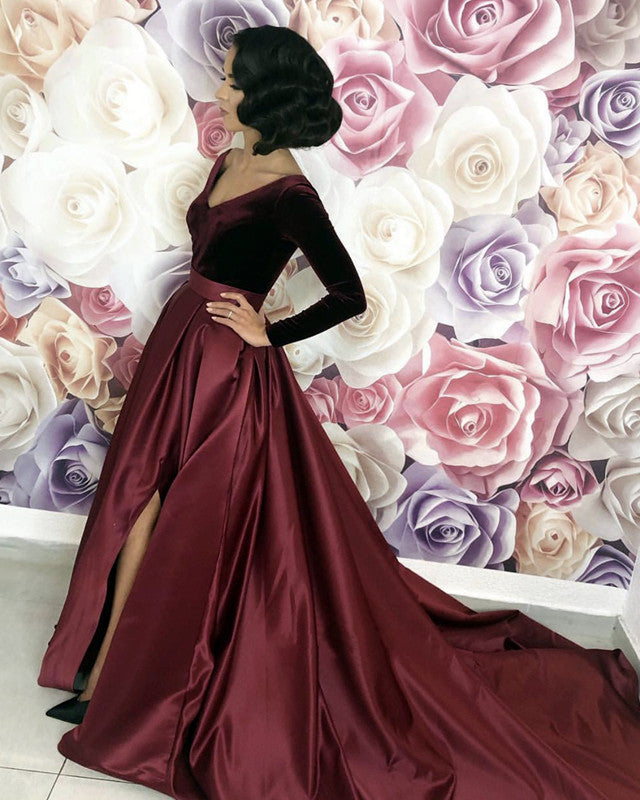 0b0ee666415 Velvet Top Prom Dresses Long Sleeves Satin Evening Gowns Leg Split ...