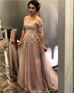 Modest Lace Appliques Tulle Evening Prom Dresses With Sleeves