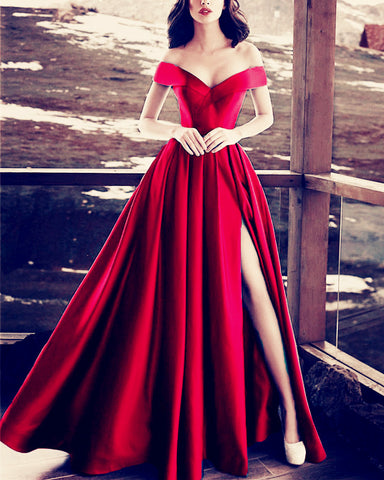 Image of Long-Satin-Red-Prom-Dresses-2019