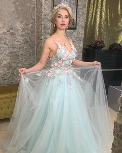 269739b4a7b Chic Lace Flowers Embroidery Tulle V-neck Prom Dresses Spaghetti Straps