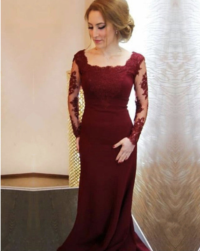 31d02e58b3 Double tap to zoom · Modest Lace Appliques Long Sleeves Mermaid Prom Dresses