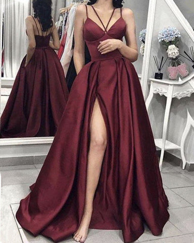 Image of Criss Cross Top Prom Dresses Burgundy