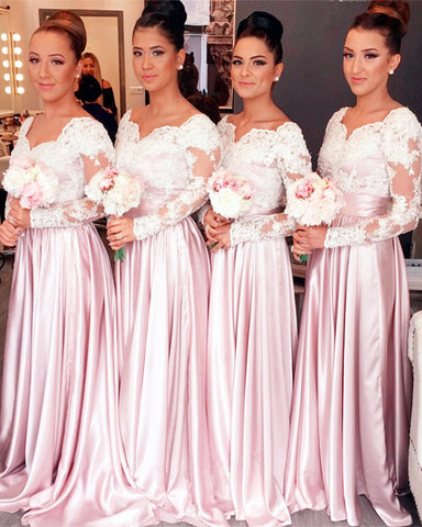 Pink Modest Bridesmaids Dresses