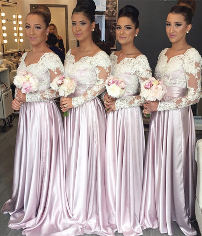 Modest Lace Long Sleeves Satin Bridesmaid Dresses