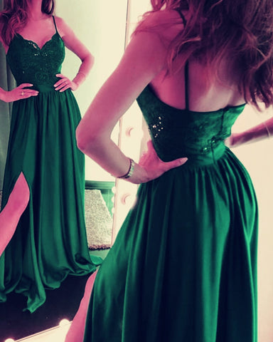 Image of Long Green Evening Dresses Spaghetti Straps