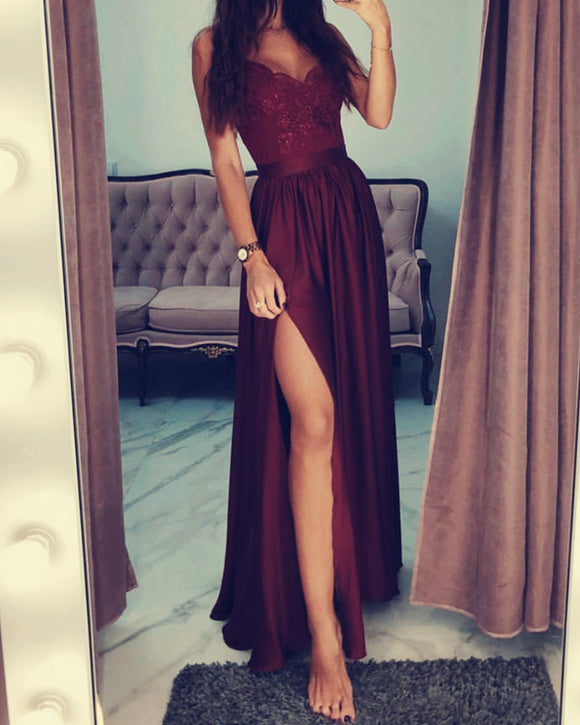 Long Maroon Satin Prom Dress High Split