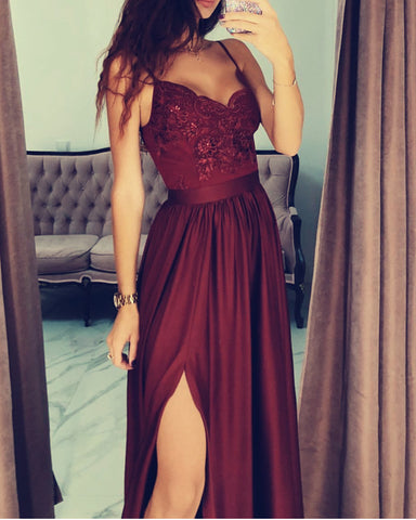Maroon Prom Satin Long Dress Lace Appliques