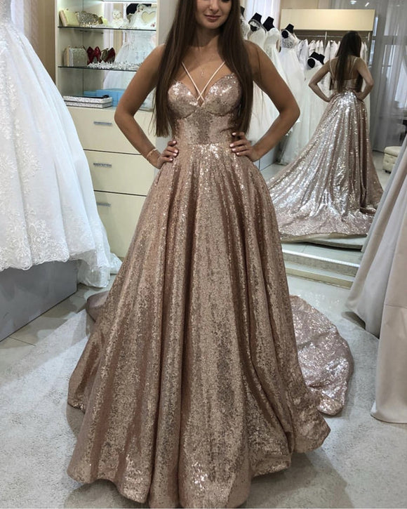 Sequin Prom Dresses Rose Gold
