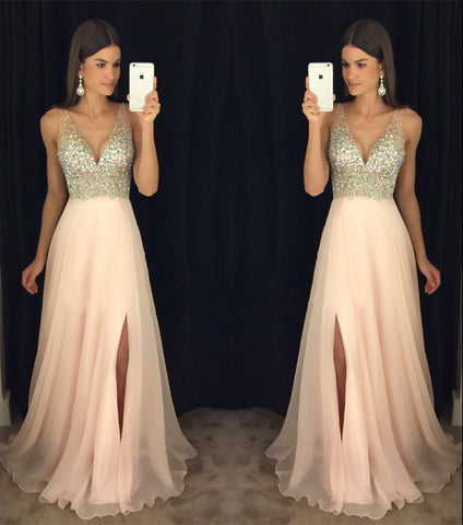 Image of Deep V Neck Crystal Beaded Long Chiffon Prom Evening Dresses
