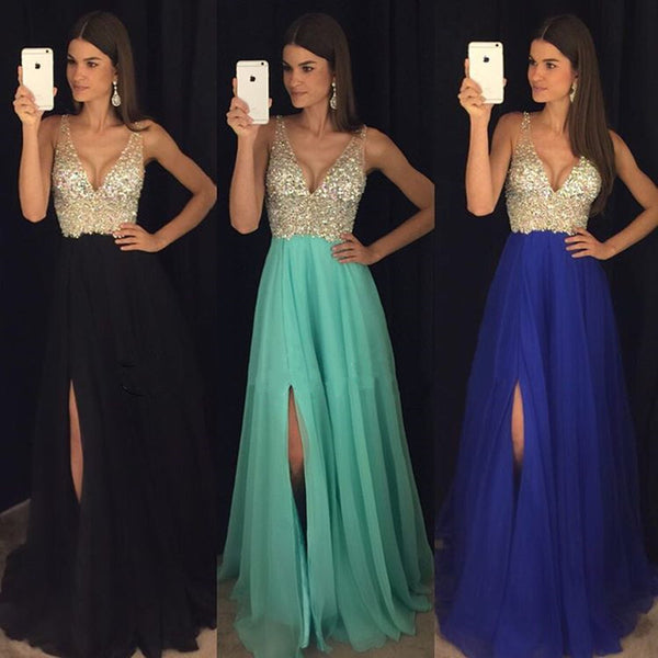 Deep V Neck Crystal Beaded Long Chiffon Prom Evening Dresses