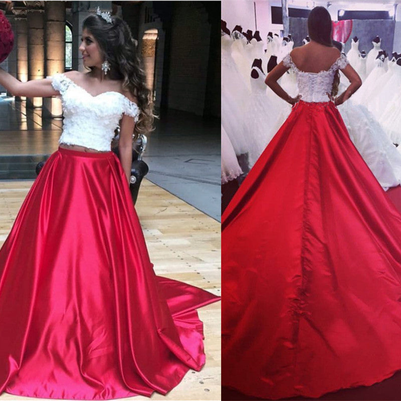 White Lace Crop Long Satin Two Piece Prom Dresses