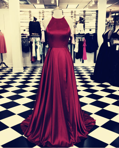 Image of Long-Burgundy-Prom-Dresses-2019-Satin-Evening-Gowns