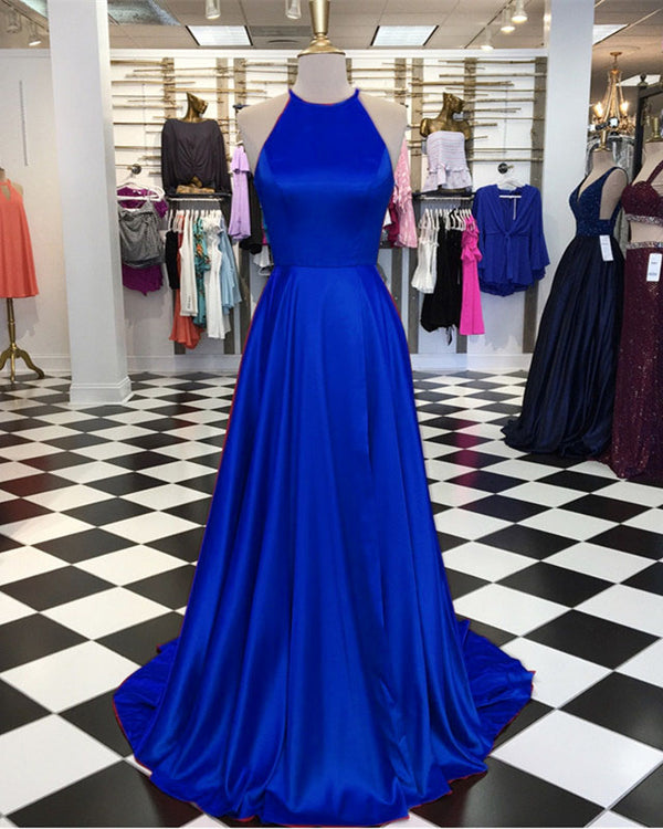 Long Satin Halter Prom Dresses Leg Split Evening Gowns