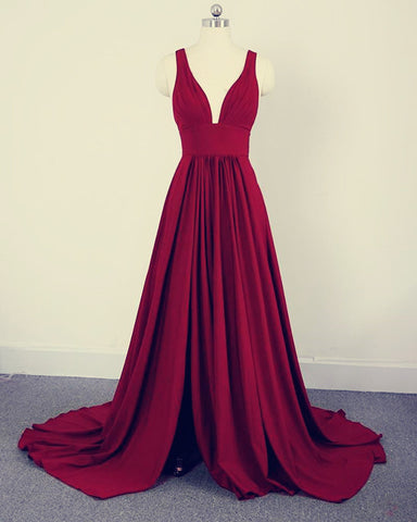 Image of Long Split Bridesmaid Dresses Burgundy