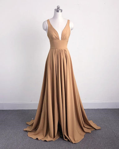 Image of Long Split Bridesmaid Dresses Champagne