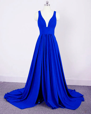 Image of Long Split Bridesmaid Dresses Royal Blue