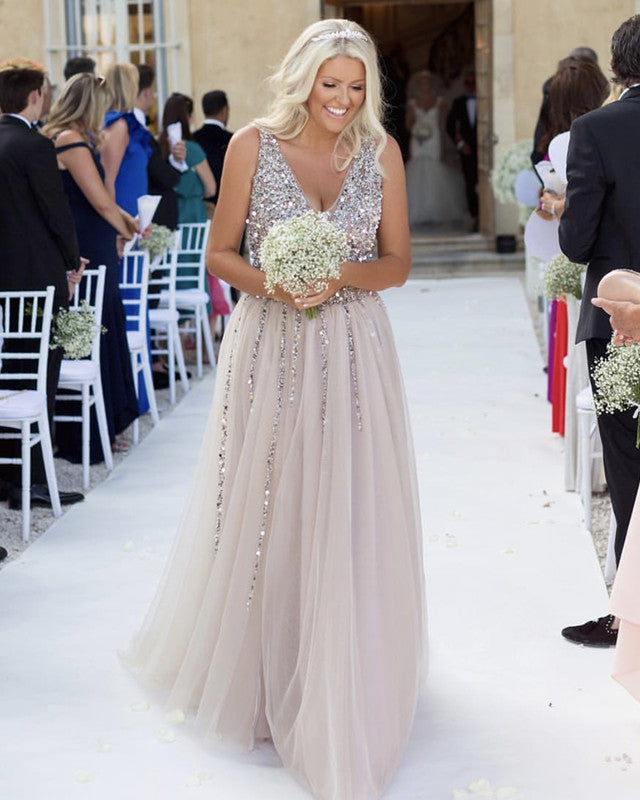 Sequins Beaded Tulle Bridesmaid Dresses