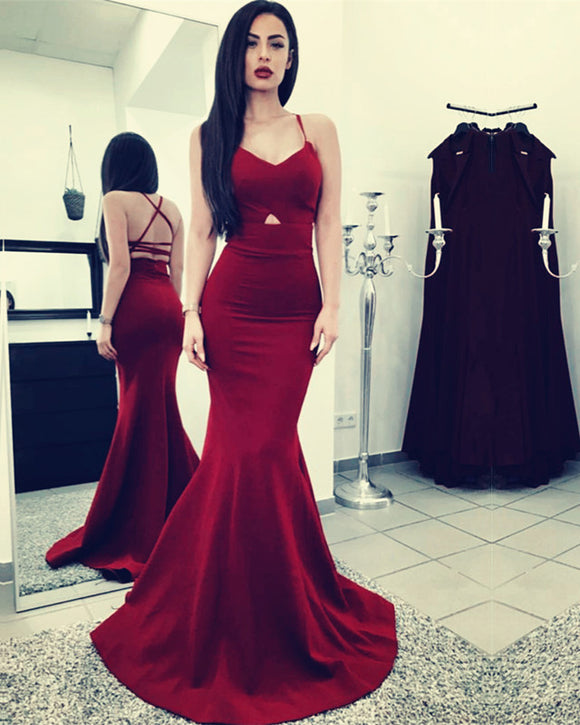 Burgundy Mermaid Prom Dresses Cross Back