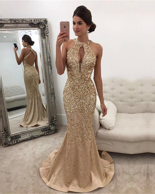 Champagne Mermaid Prom Dresses Crystal Beaded