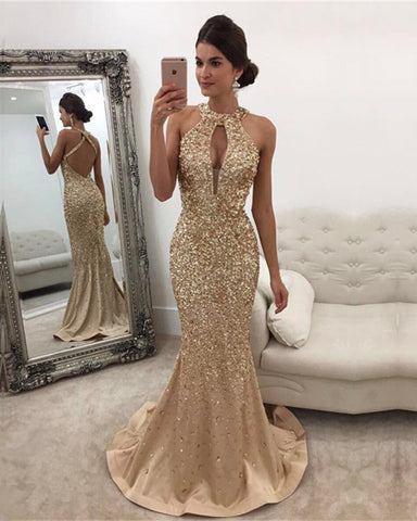 Image of Champagne Mermaid Prom Dresses Crystal Beaded