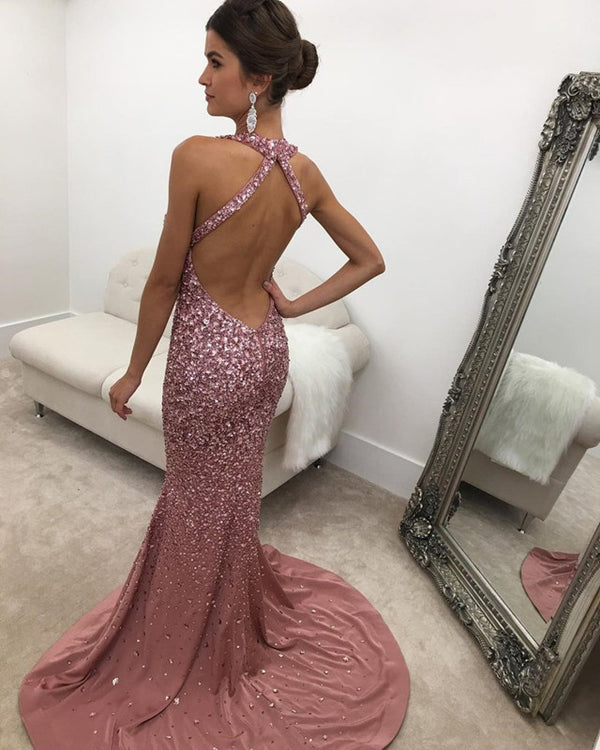 Long Satin Halter Prom Dress Mermaid Crystal Beaded