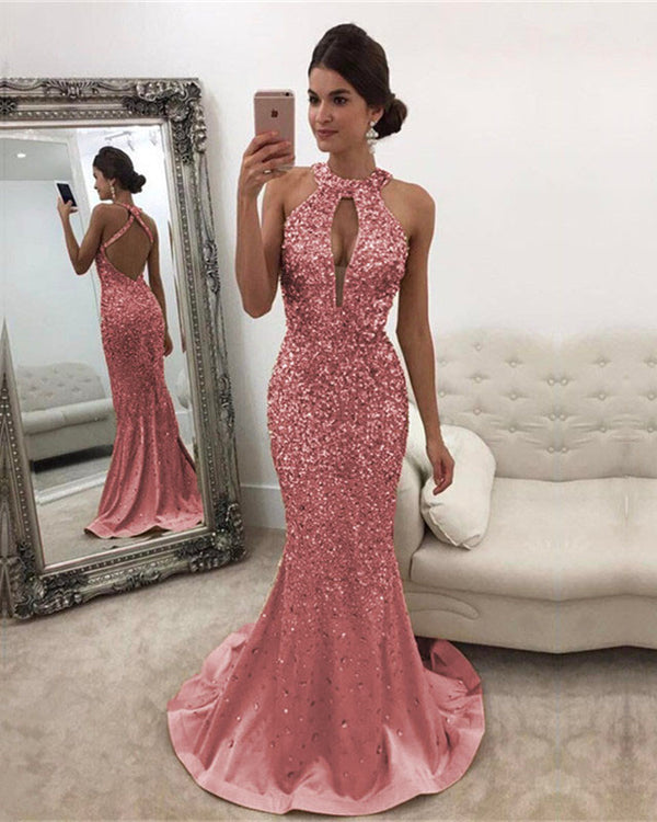 Pink Mermaid Prom Dresses Crystal Beaded